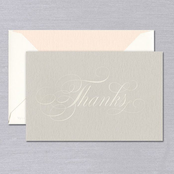 Vera Wang Taupe Engraved Script Thank You Notes