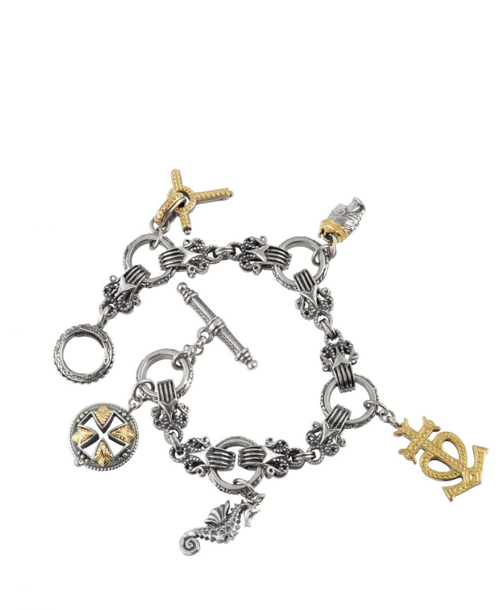 Silver and 18k Gold Charm Bracelet