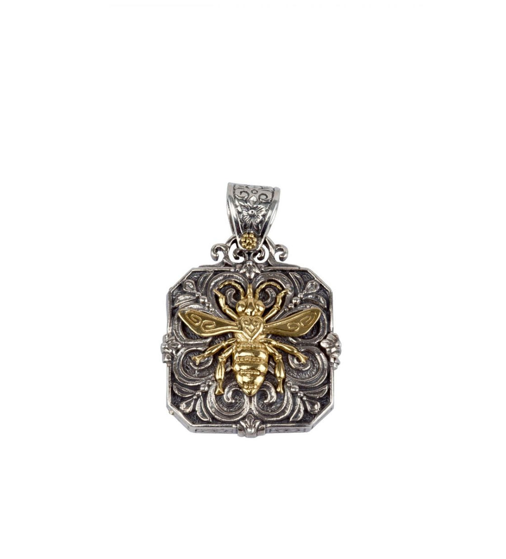 Etched 18k Bee Locket