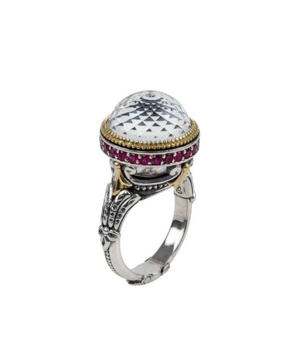 "Konstantino ""Pythia"" Crystal & Ruby Ring"