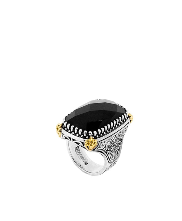 Onyx Silver and 18k Gold Ring