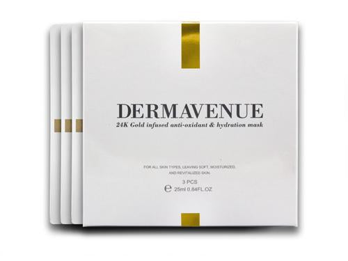 Dermavenue 24K Gold Infused Antioxidant and Hydration Mask-3 Piece with Box