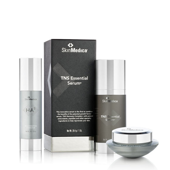 SkinMedica TNS Essential Serum + TNS Eye Repair + Ha5 Rejuvenating Hydrator (1oz) Bundle