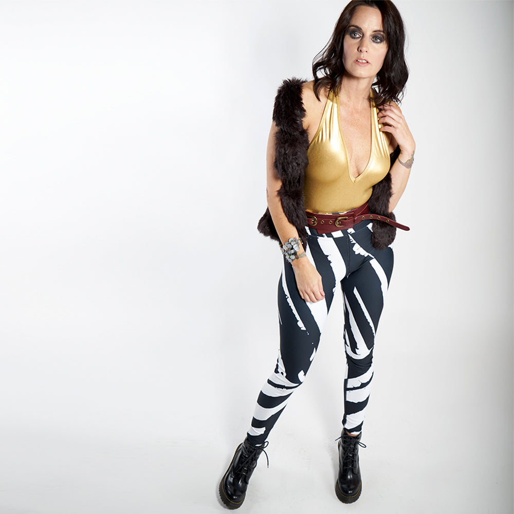 Wearable Art Leggings : Zebra