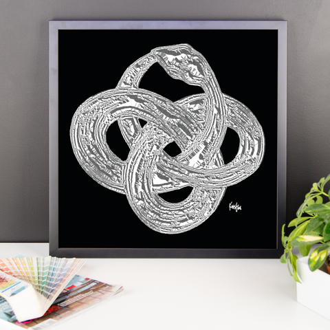 Framed Art Print : Ouroboros Damascus