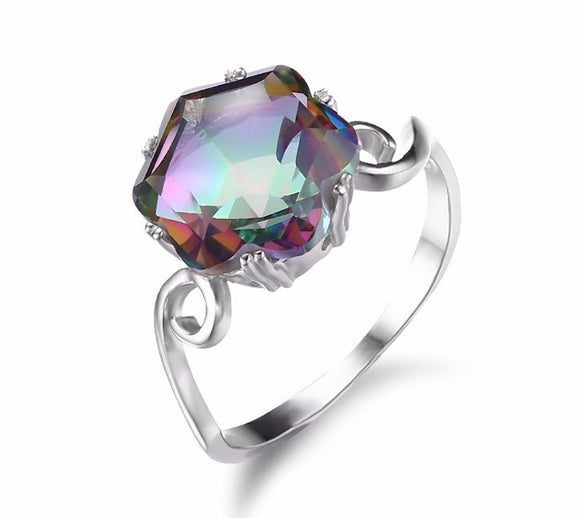 Mystic topaz ring solid 925