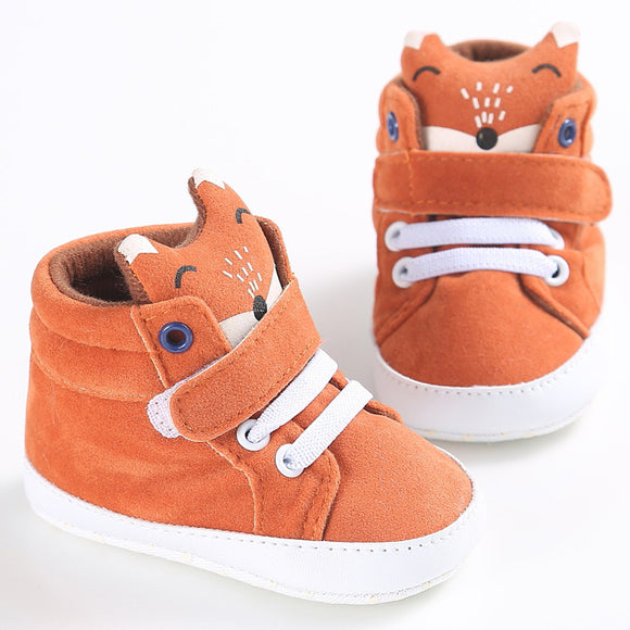 0-18M Girls boys Fox head pattern high canvas shoes