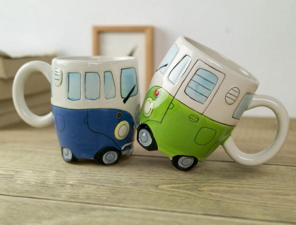 Hand Painting Double Decker Bus Ceramic Coffee Milk Tea Mugs -Novetly Gifts 1pc - Dealzilla shop