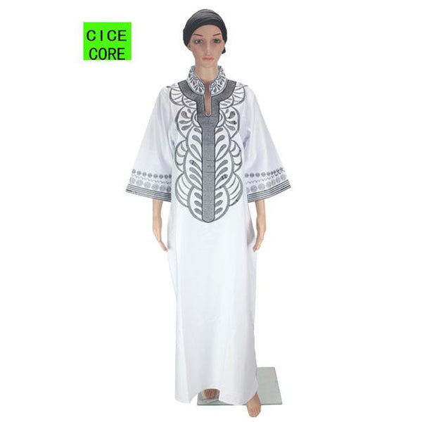African Bazin Embroidery dresses long dress without  scarf - Dealzilla shop