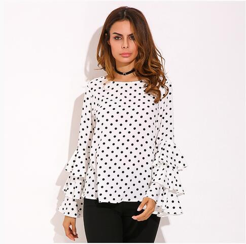 Elegant Polka Dot Print Loose Chiffon Top - Dealzilla shop