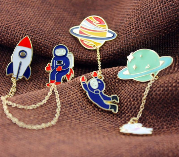 Enamel Pins-astronauts/earth/rabbit girl - Dealzilla shop