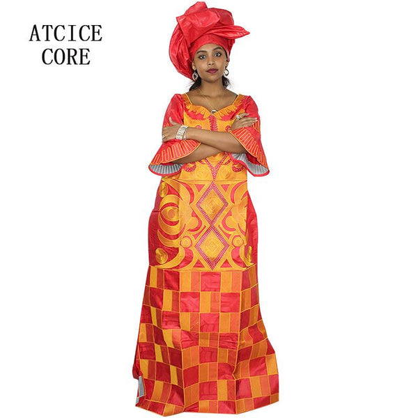 African bazin embroidery design long dress - Dealzilla shop