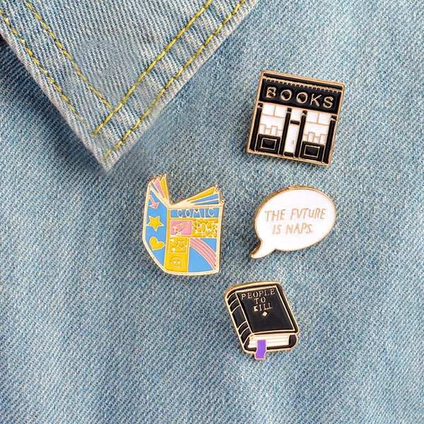 "Enamel Pins-Letter paper bookstore message books ""the future is naps""""to do ""drink tea make shit pet animals die"" - Dealzilla shop"