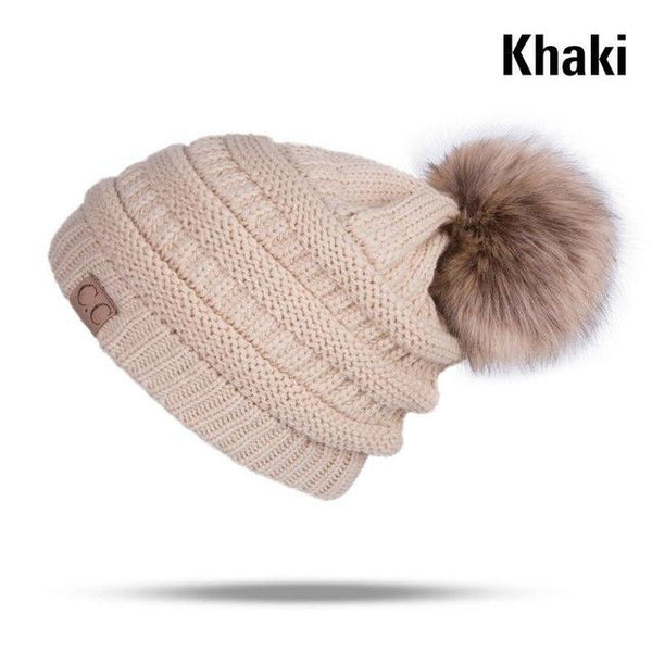 Women's Winter Fleece Lined Cable Knitted Pom Pom Beanie Hat - Dealzilla shop