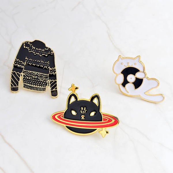 Enamel Pins-3pcs/set - Black sweater space cat lapel - Dealzilla shop
