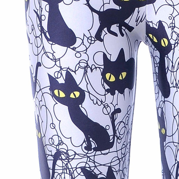 Black Cats Print Leggings - All Sizes - Dealzilla shop
