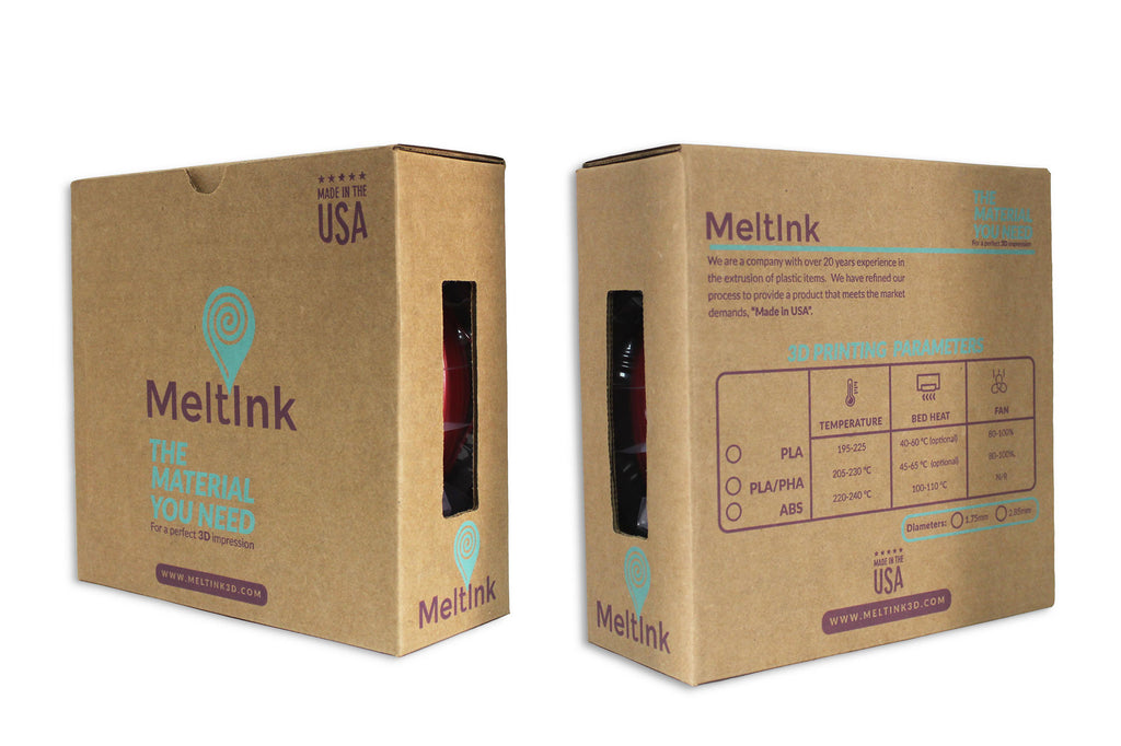 MeltInk3D PLA-1K175RED05 Red PLA 3D Printer Filament Ø 1.75mm, 1Kg, Dimensional Accuracy: ± 0.05mm - Meltink 3D