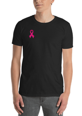 Black color double sided unisex t shirt with pink breast cancer awareness ribbon with option to customize back of t shirt with name
