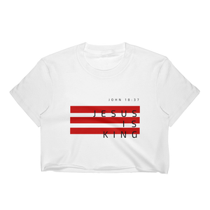 Jesus Nation Women's Crop Top T-Shirt Red Bars