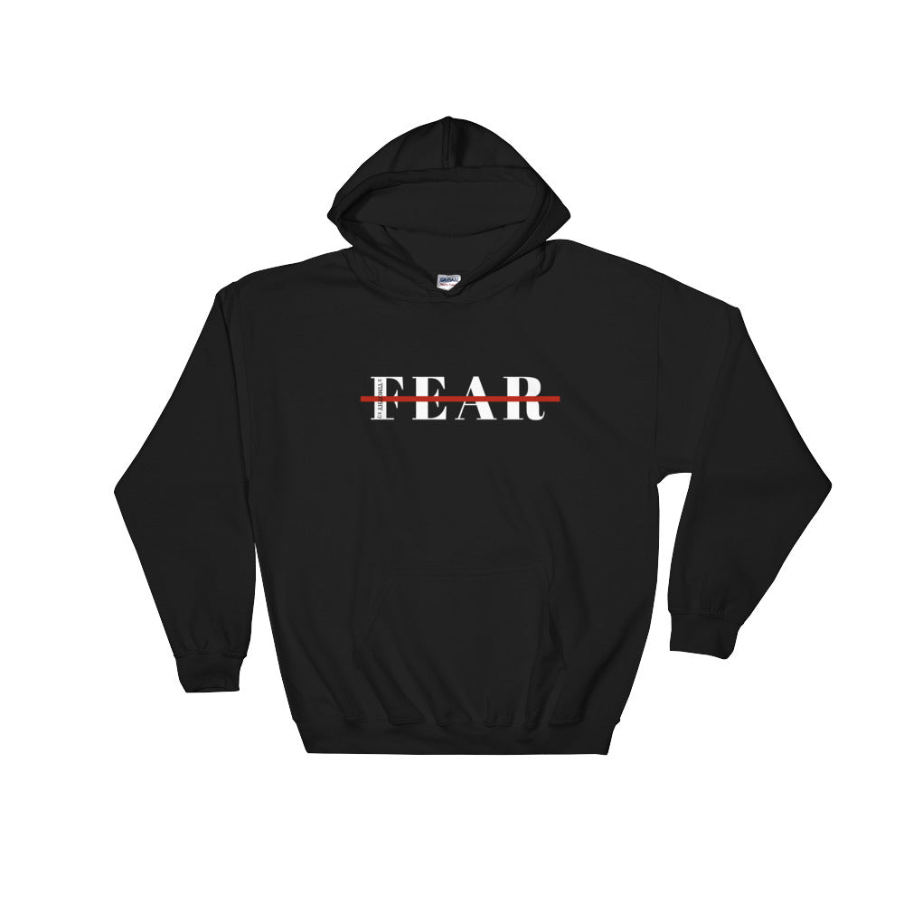 Black comfy hooded sweatshirt for holidays with scripture on front and words fear crossed out