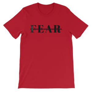 Red short sleeve cotton graphic Fearless scripture tshirt graphic