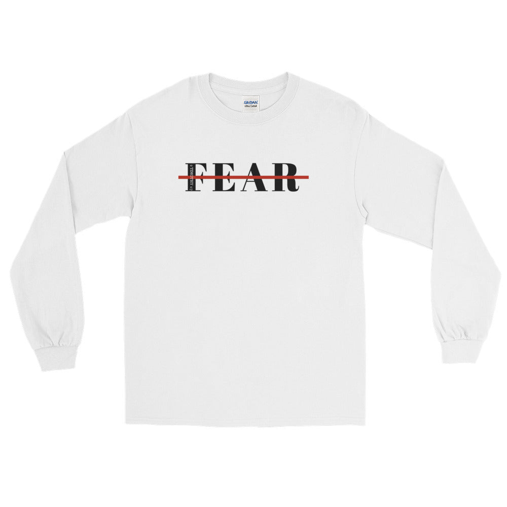 Unisex White Fearless Long Sleeve Shirt