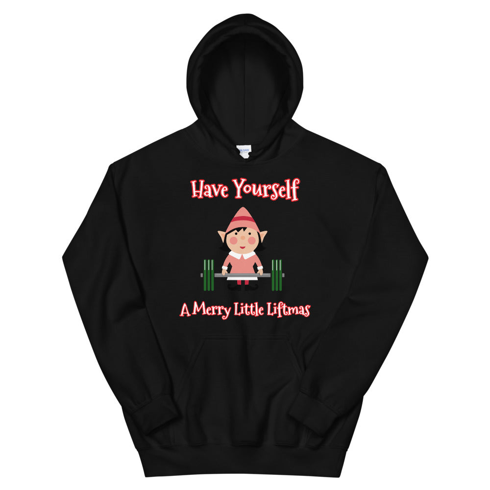 """Have Yourself A Merry Little Liftmas"" Lightweight Lifting Lady Elf Hoodie"