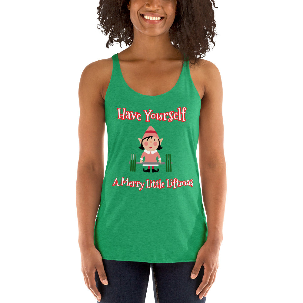 Lifting Lady Elf Women's Workout Racerback Tank - Christmas Gift For Active Women