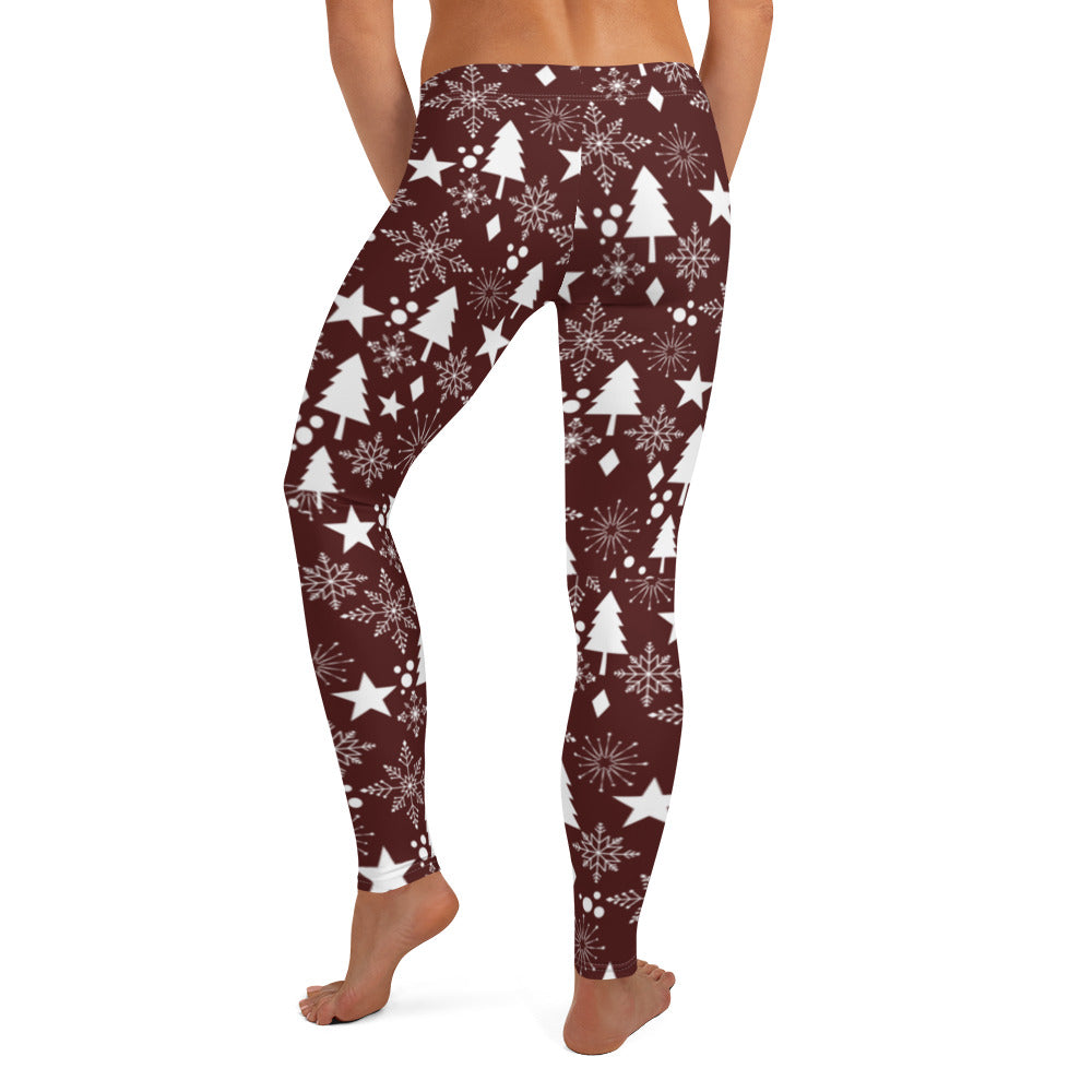 Winter Wonderland Women's Lifting Leggings - Maroon Solid