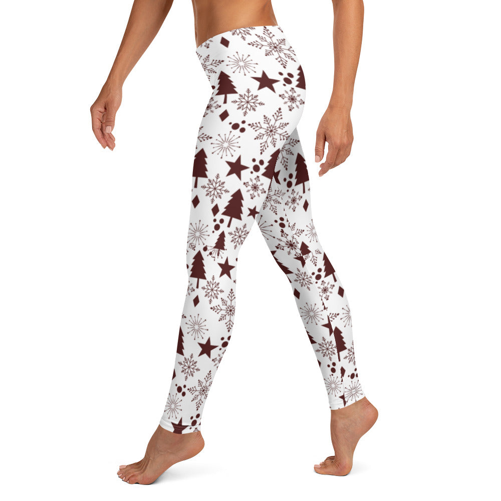 Winter Wonderland Women's Lifting Leggings - White Solid/Maroon Print