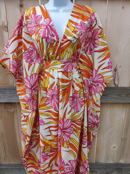 Tropical Palm Leaf and Hibiscus Caftan