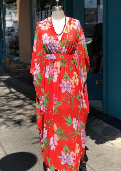 Orange Crepe Chiffon Caftan