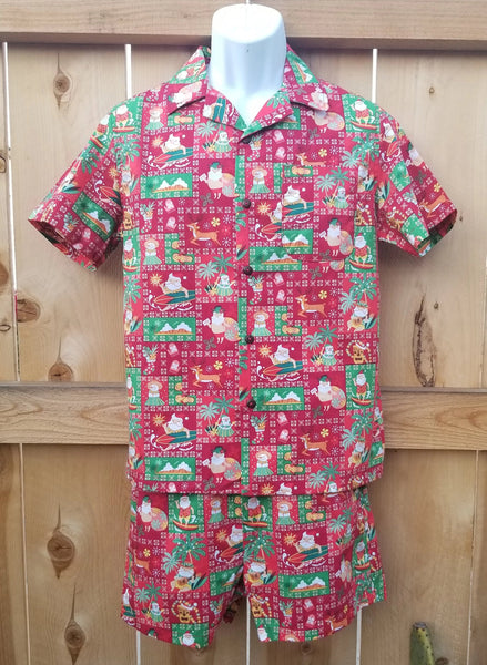 Men's Cabana Set Christmas Santa Grid