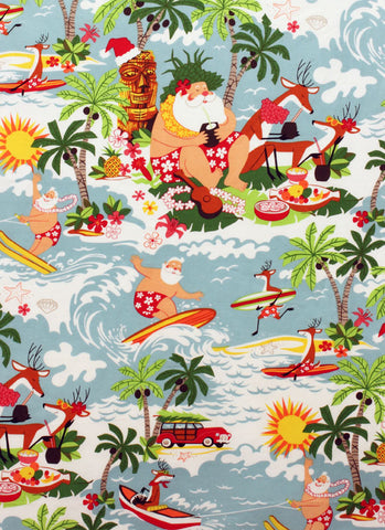 Men's Cabana Set Christmas Surfin' Santa