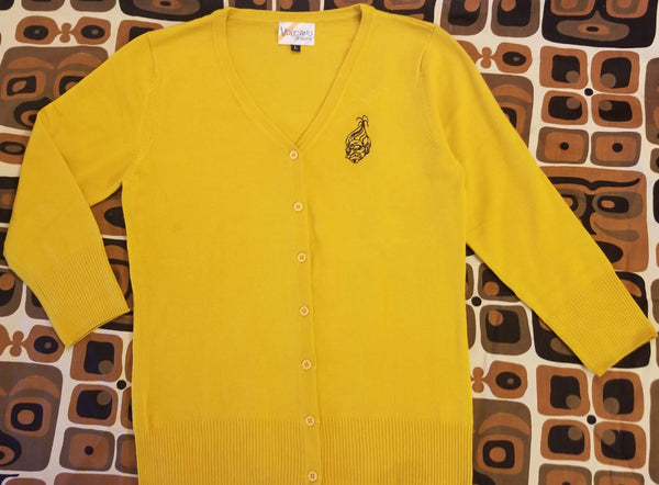 Shrunken Head Embroidered Cardigan Sweater in Mustard