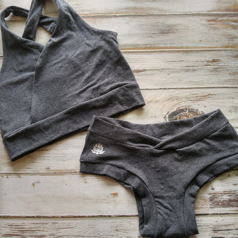 Charcoal Bra + Cheeky Set - Crunchy Love Co.