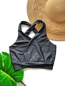 Black Crossover Swim + Yoga Bra - Crunchy Love Co.