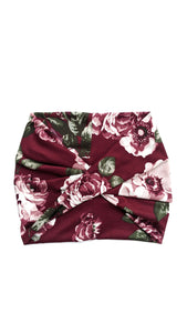 Wine Floral Wide Headband