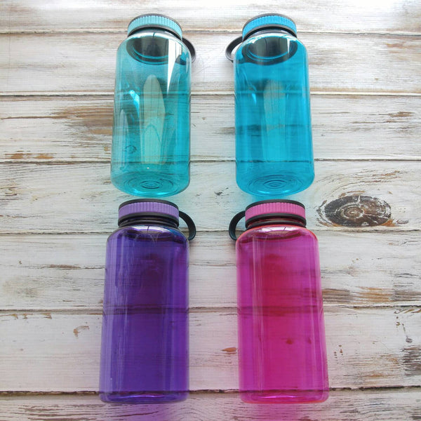 Mint, aqua, purple, and pink jugs