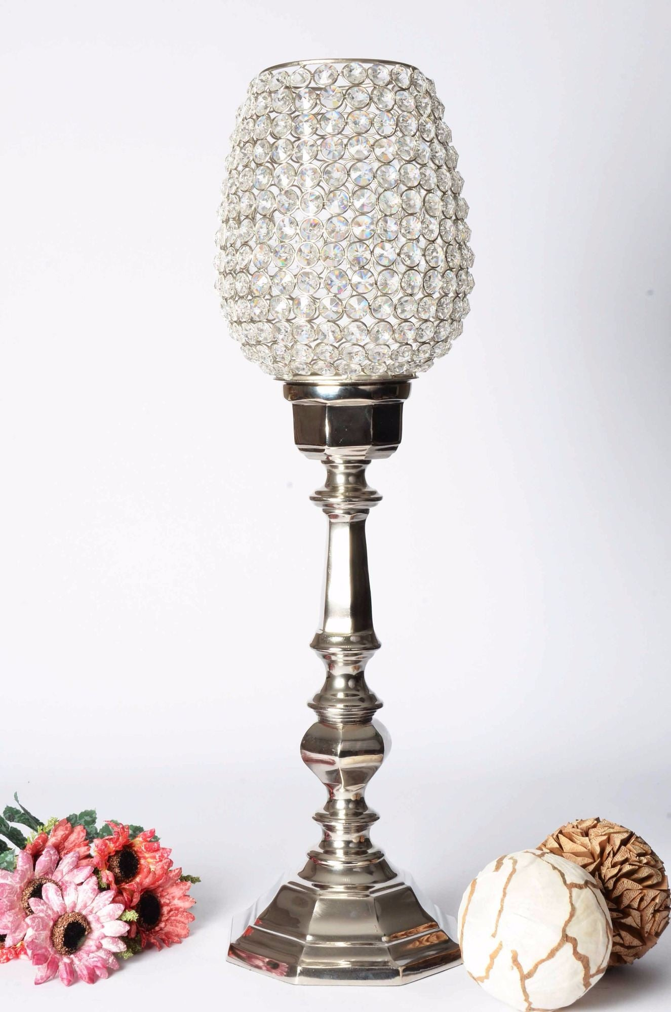 Ojala - Glass Crystal Beads Table Lamp - Octagonal Base - Simply Roka