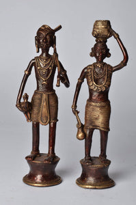 Brass Metal Tribal Workers Figurine - Dhokra Art - Simply Roka