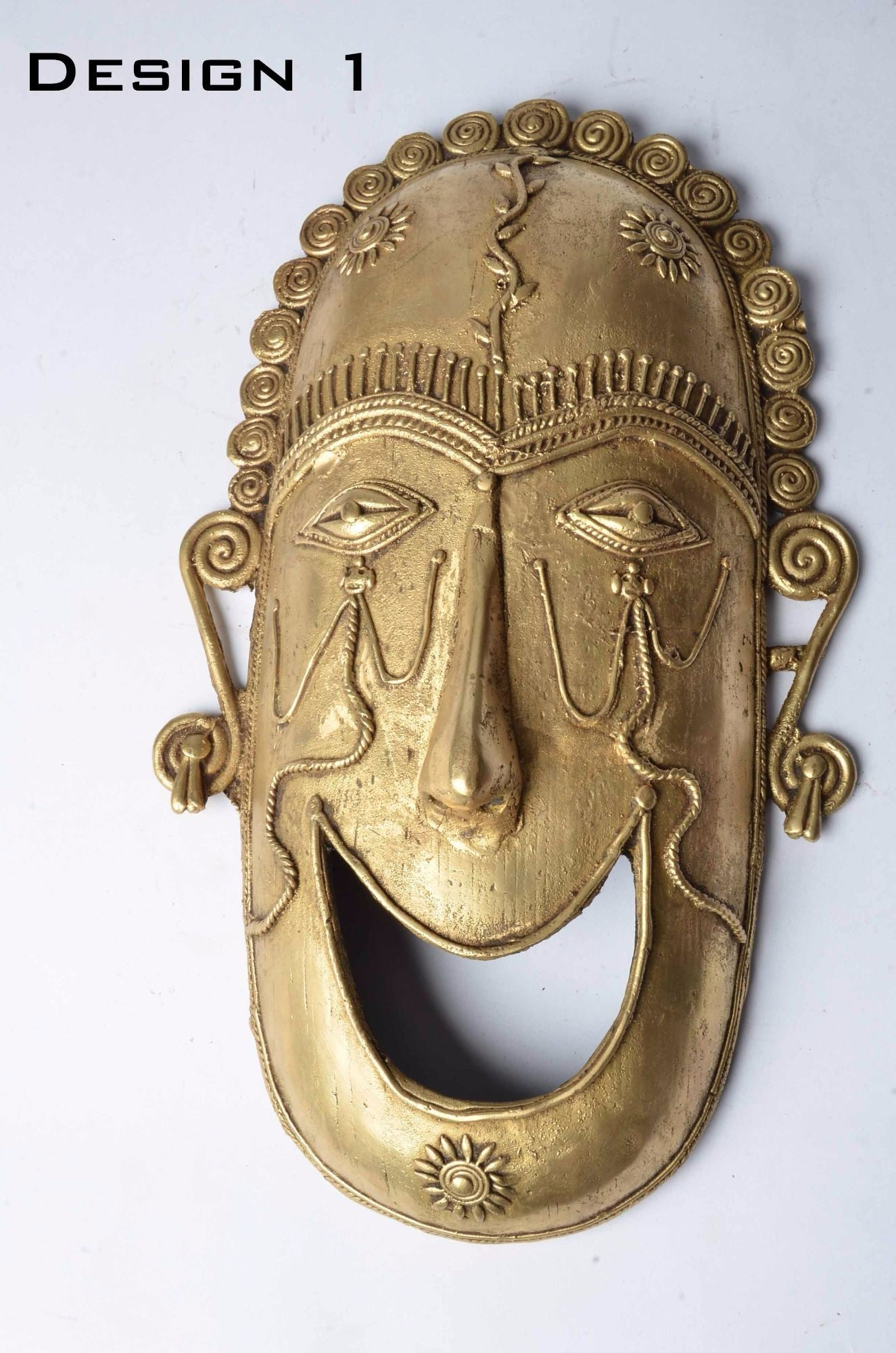 Brass Metal Smiley Mask - Tribal Dhokra Art - DBA10-1 - Simply Roka