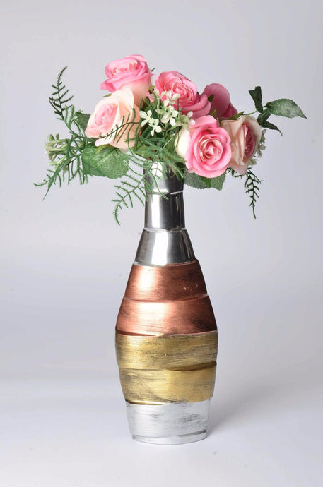 Giabra - Modern Vase - Copper and Brass embellished | Home decoration, elegant gift, Decorative vase for artificial flowers, floor standing vase, living room decorative vase