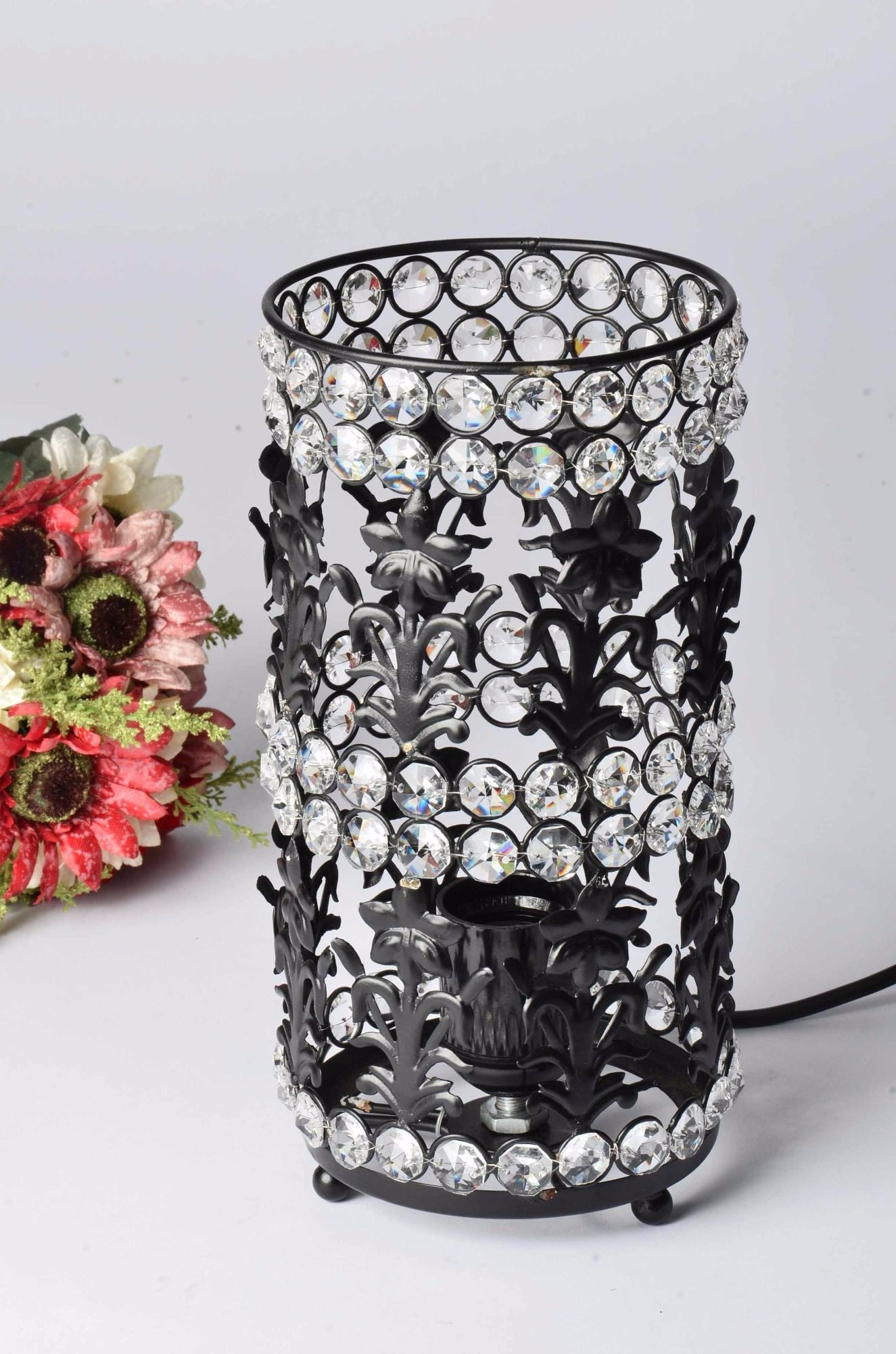 Halina - Glass Crystal Beads Table Lamp - Cylinder with Black Iron Detailing - Simply Roka
