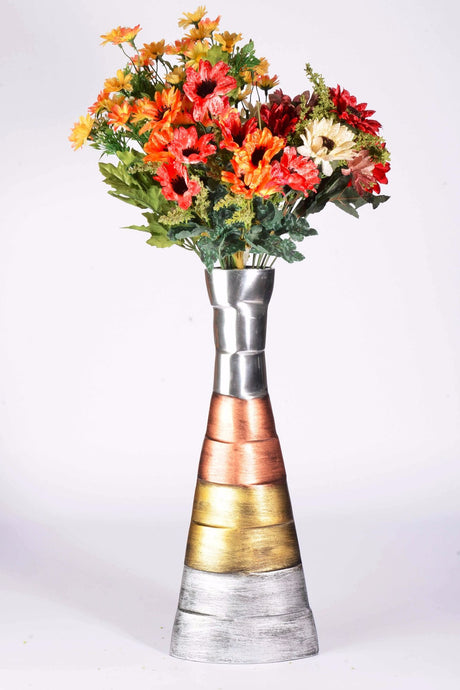 Cornus - Modern Vase - Copper and Brass embellished | Decorative vase for artificial flowers, floor standing vase, living room decorative vase
