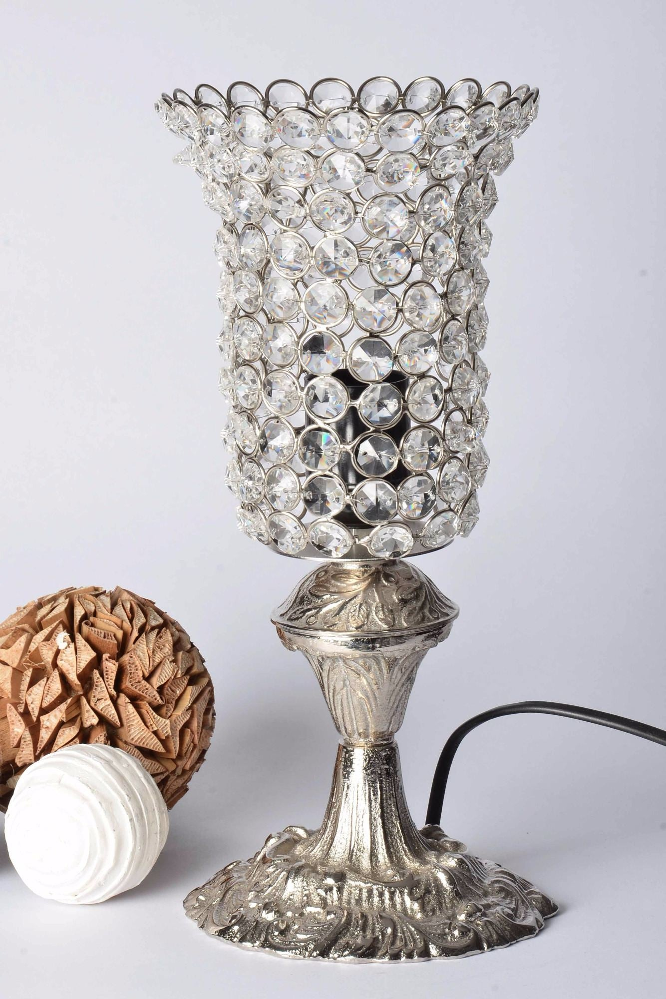 Sana - Glass Crystal Beads Table Lamp - Slim Goblet Simply Roka