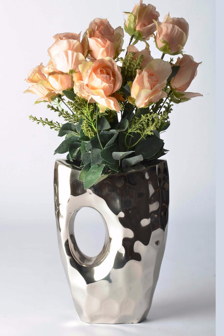 Piantago - Modern Vase - Curved with 'Peep-hole' | Modern handmade vase. Elegant present for couple