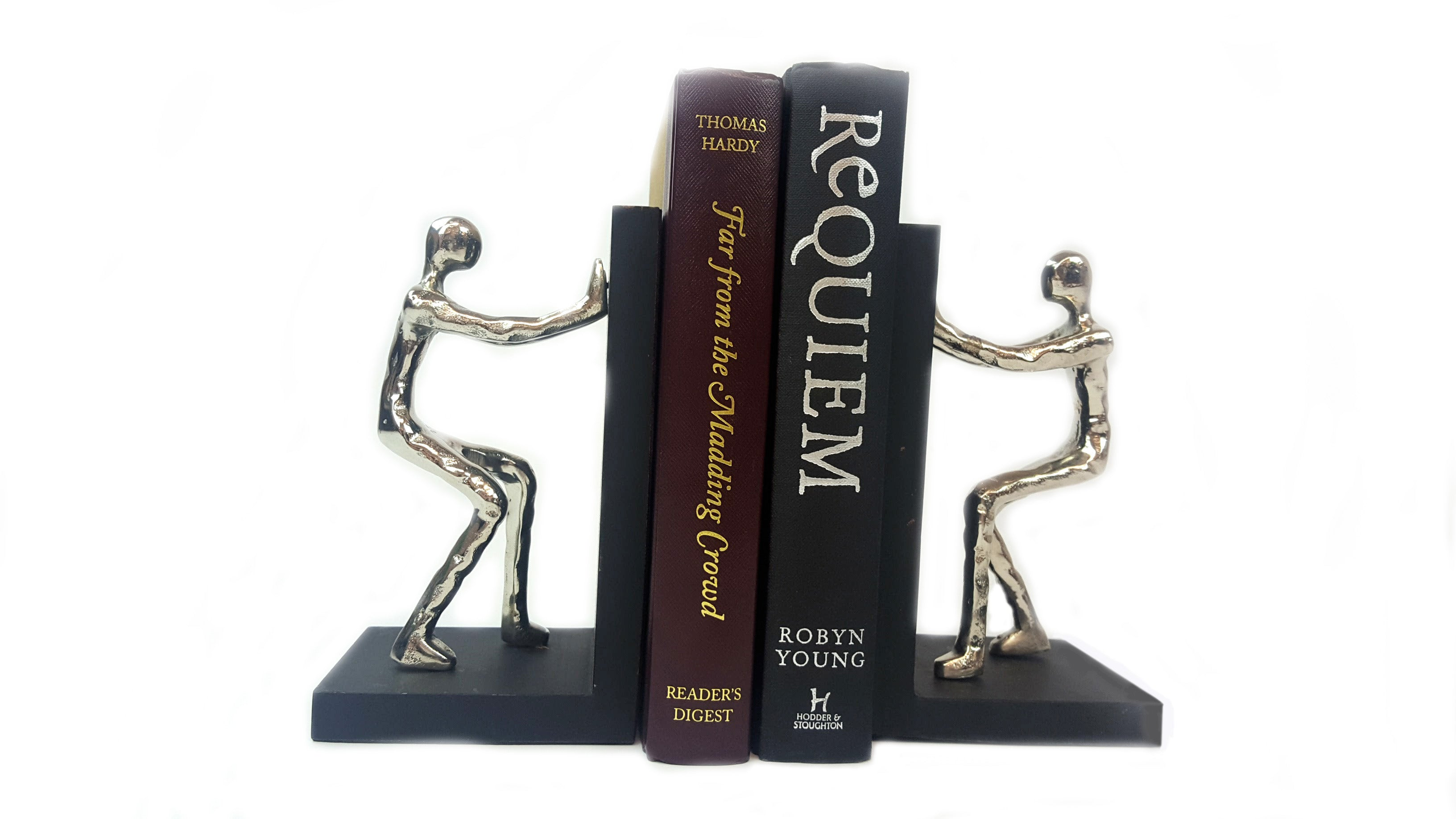Aluminium Pushing Men Bookend - Pair Simply Roka
