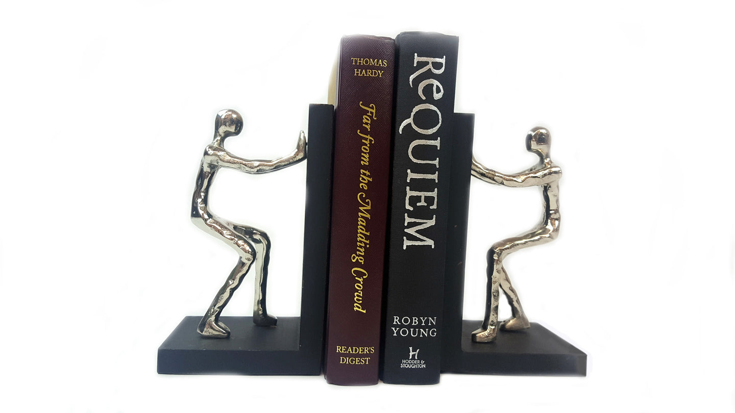 Aluminium Pushing Men Bookend - Pair - Simply Roka