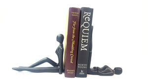 Black Finish Metal Relaxing Women Bookend - Pair Simply Roka